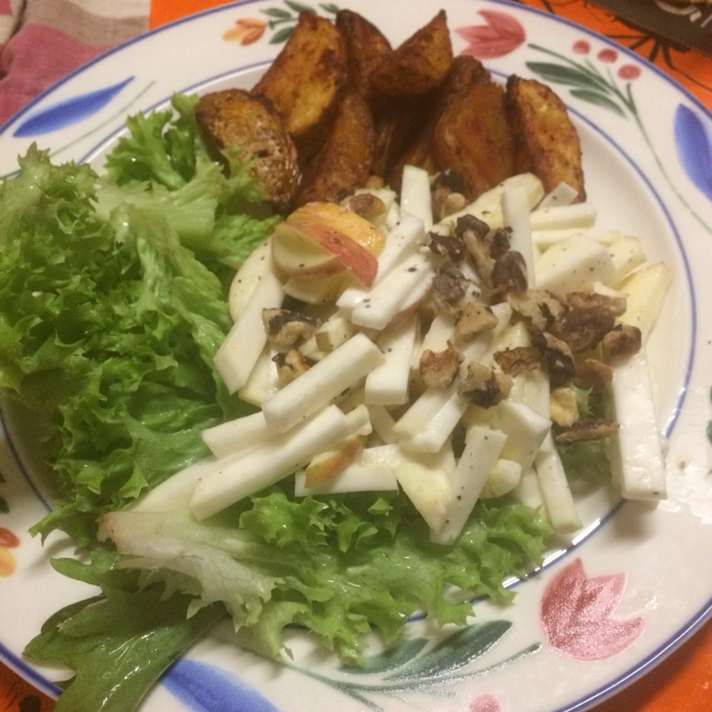 Midorigreen.co.uk Waldorf salad with celeriac and paprika potato wedges