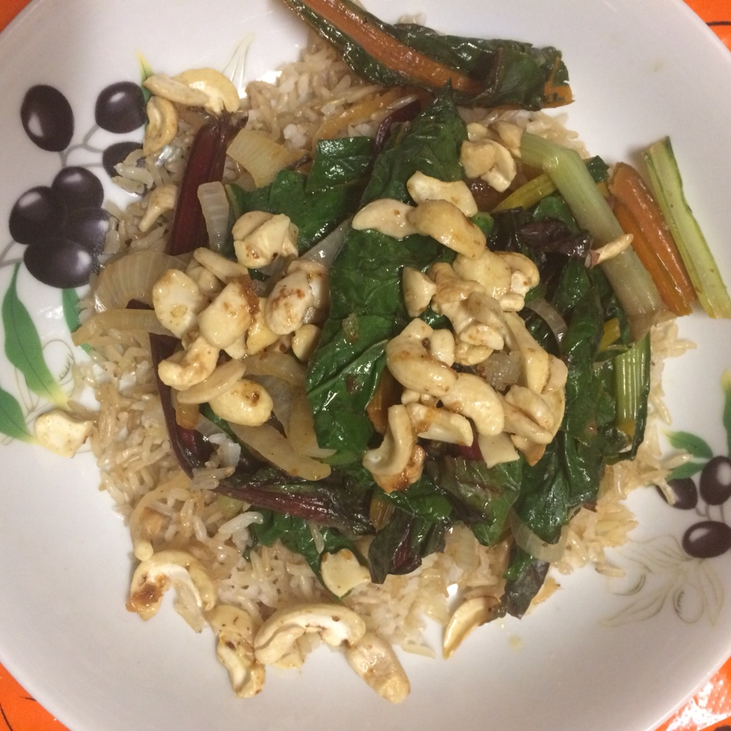 Midorigreen.co.uk chilli chard with rice and cashews