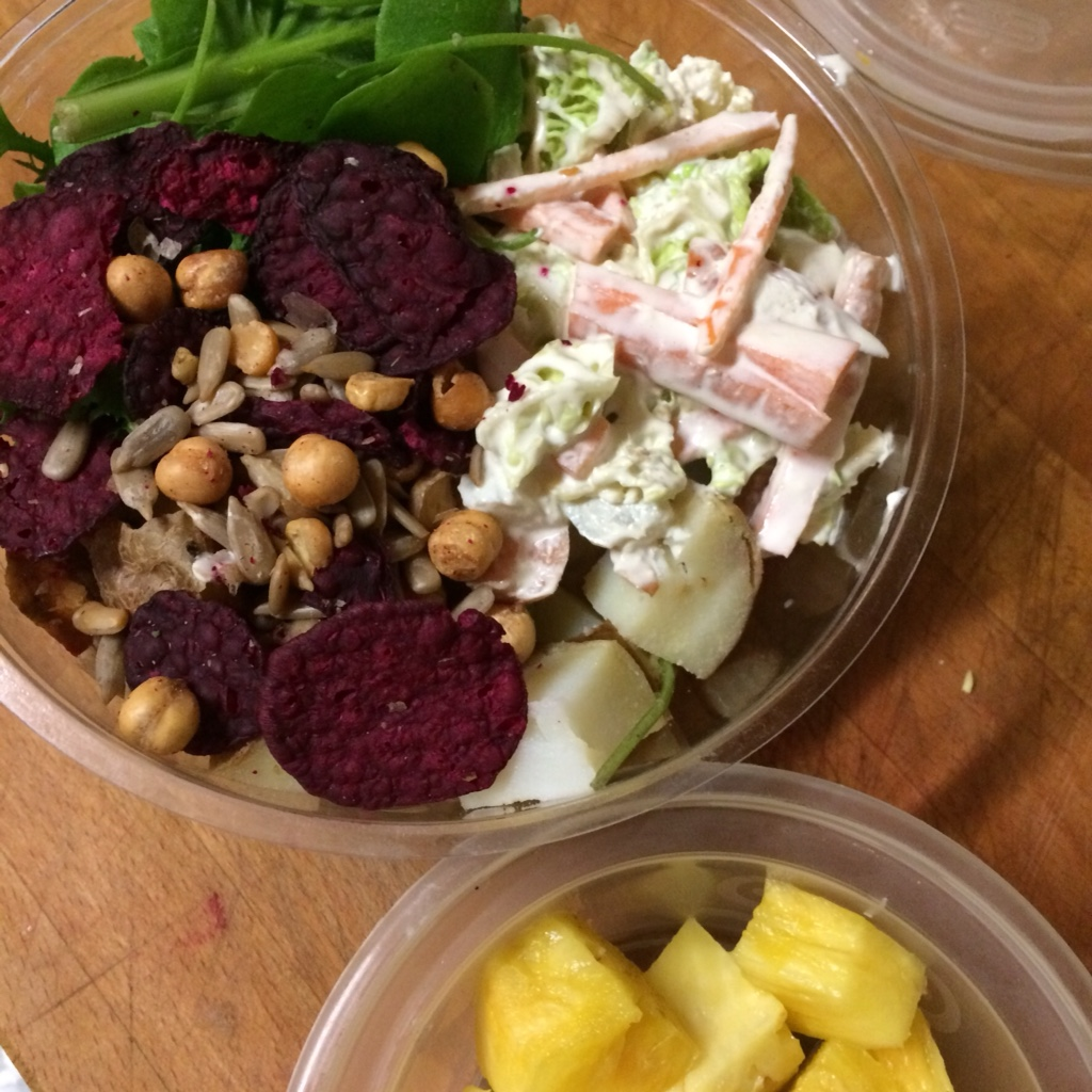 Vegan Lunch tub with salad leaves, coleslaw, potatoes, beetroot crisps, chickpeas and spicy sunflower seeds midorigreen.co.uk