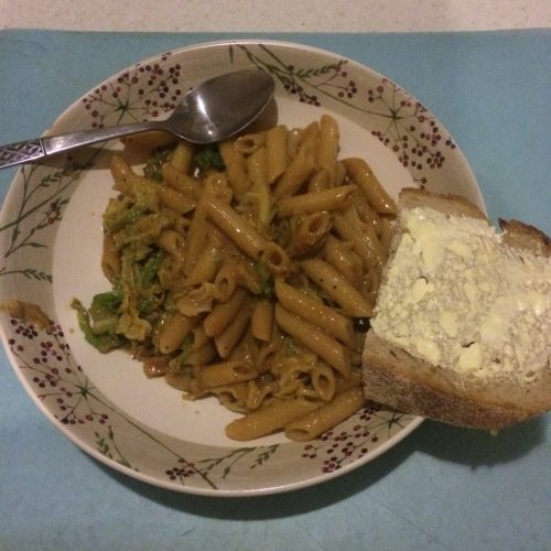 pasta with cabbage and miso - veg bag meals - midorigreen.co.uk