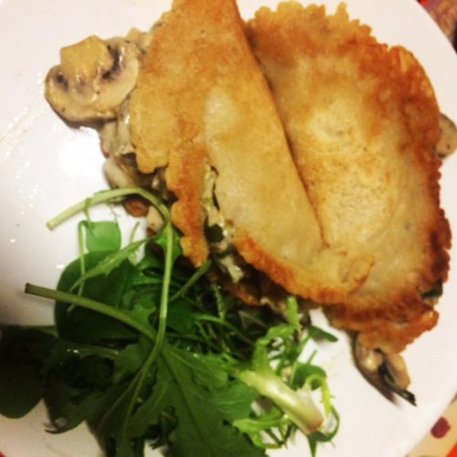pancakes with mushroom, leek and cashew filling midorigreen.co.uk