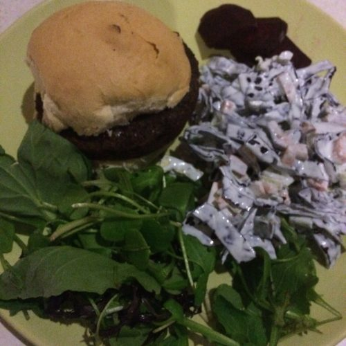 burger with homemade coleslaw - veg box meals- midorigreen.co.uk