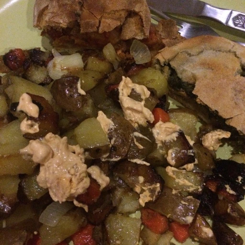 Underground vegetable hash with stuffed flat breads - veg bag meals - midorigreen,co.uk