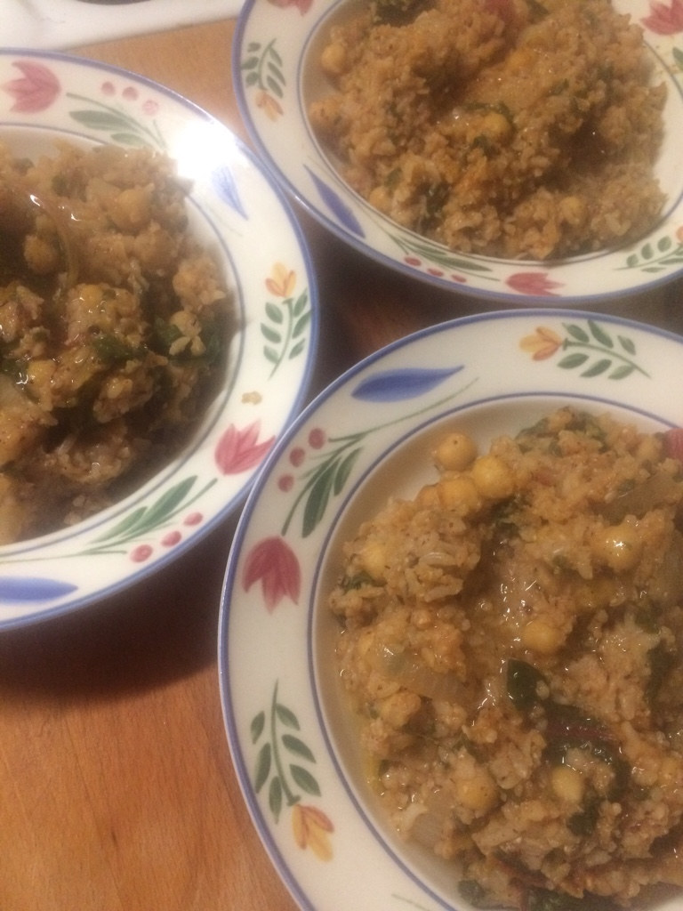 three bowls of rice with chickpeas, chards and spices - veg bag meals - midorigreen.co.uk